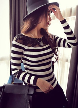 Round Neckline Stripe Tight Sweaters