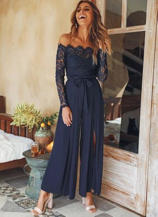 Solid Long Sleeve Lace Jumpsuits & Rompers