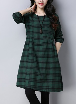 Plaid Long Sleeve Knee-Length A-line Dress
