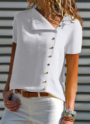 Solid Summer Oblique Neckline Short Sleeve Blouses (146862880)