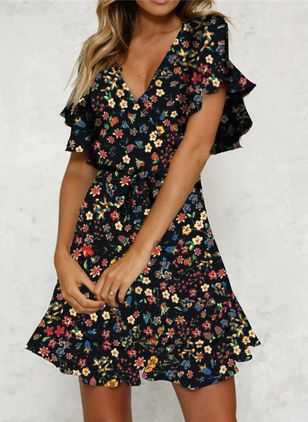Casual Floral Shirt V-Neckline Shift Dress (101985462)