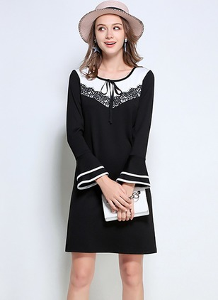 Color Block Lace Long Sleeve Sheath Dress