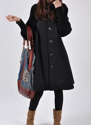 Long Sleeve High Neckline Buttons Sweaters Coats (107561936)