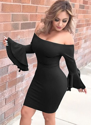 Cotton Solid Pencil Long Sleeve Bodycon Dress
