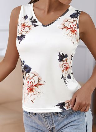 Floral V-Neckline Sleeveless Casual T-shirts (147017593)