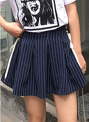 Cotton Stripe Above Knee Casual Skirts
