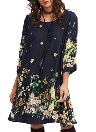 Cotton Floral 3/4 Sleeves Knee-Length Shift Dress