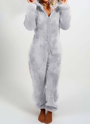 Collar Plain Zipper Pajamas (146658923)
