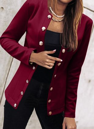 Long Sleeve Round Neck Buttons Coats (146910725)