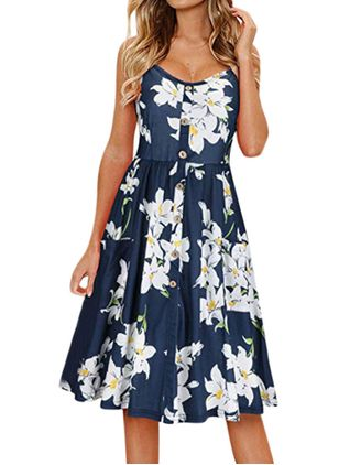 Sexy Floral Camisole Neckline Knee-Length X-line Dress (4864856)