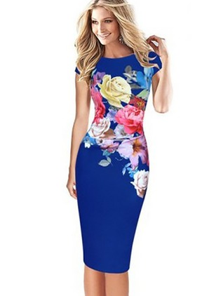 Floral Pencil Short Sleeve Knee-Length Bodycon Dress