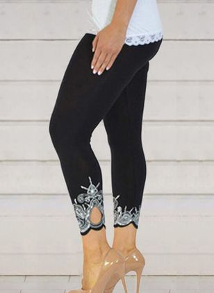 Casual Skinny High Waist Polyester Pants (146975503)