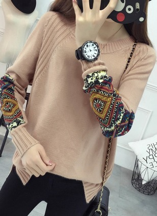Acrylic Round Neckline Floral Tight Embroidery Sweaters