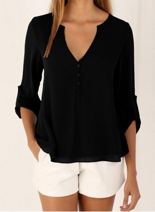 Chiffon Solid V-Neckline Long Sleeve Casual T-shirts & Vests