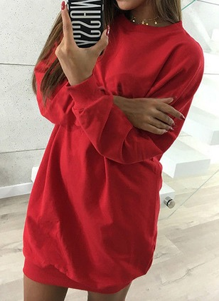 Cotton Solid Sweatershirt Long Sleeve Shift Dress