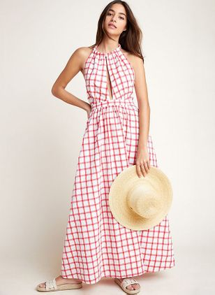 Plaid Sleeveless Maxi X-line Dress