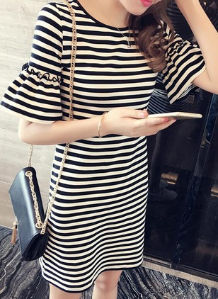 Stripe Ruffles Tshirt Short Sleeve Shift Dress