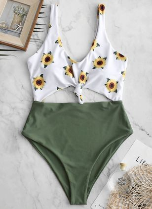 Plus Size Polyester Floral One-piece Swimwear