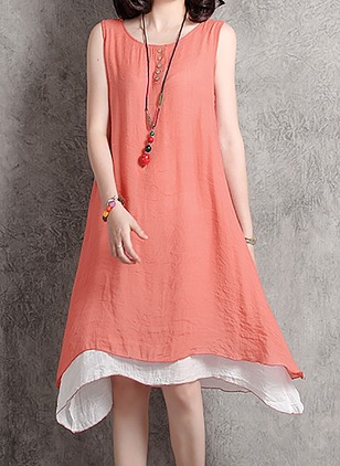 Solid Buttons Tank Knee-Length A-line Dress