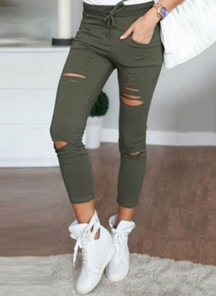 Skinny Cotton Trousers Pants & Leggings