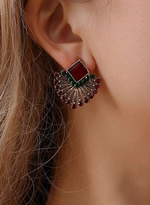 Casual Geometric Gemstone Stud Earrings (147243414)