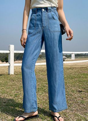 Casual Loose Mid Waist Denim Pants (1520122)