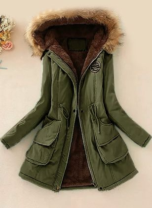 Long Sleeve Hooded Sashes Zipper Pockets Removable Fur Collar Coats (1382059)