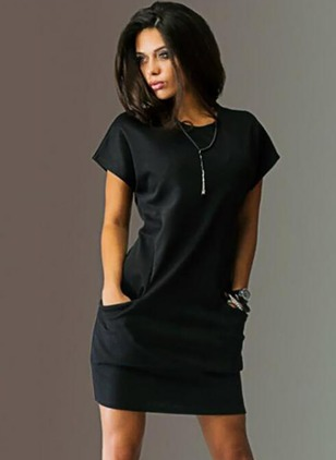Solid Pockets Tshirt Knee-Length Sheath Dress
