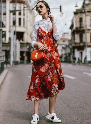Floral Buttons Collar Midi A-line Dress