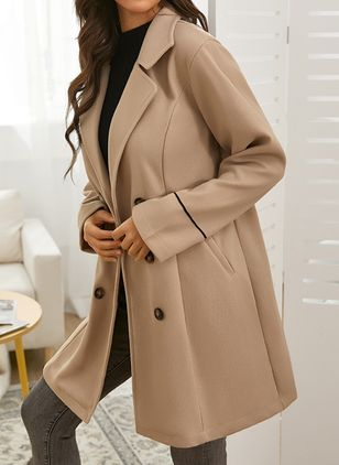 Long Sleeve Collar Buttons Trench Coats (146794916)