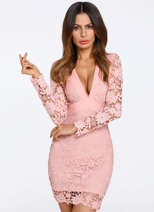Solid Lace Pencil V-Neckline Bodycon Dress