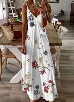 Casual Floral Slip Camisole Neckline A-line Dress (147145212)