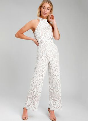 Solid Sleeveless Lace Jumpsuits & Rompers