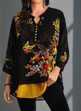 Plus Size Floral V-Neckline Casual Shift Blouses 3/4 Sleeves Plus Blouses (1494592)