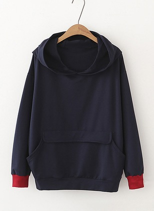 Solid Casual Cotton Round Neckline Pockets Sweatshirts
