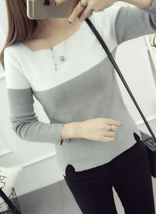 Round Neckline Color Block Tight Regular Sweaters
