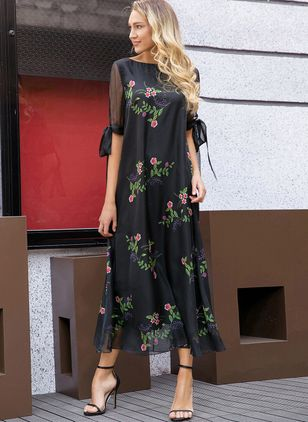 Arabian Floral Tunic Round Neckline A-line Dress (1352074)