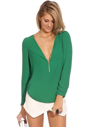 Solid Sexy Polyester V-Neckline Long Sleeve Blouses