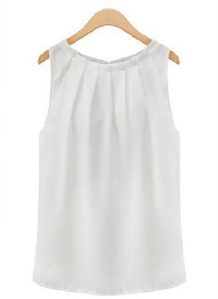 Solid Casual Chiffon Round Neckline Sleeveless Blouses