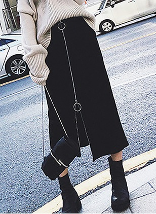 Cotton Solid Maxi Casual Skirts