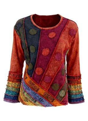 Color Block Casual Round Neckline Long Sleeve Blouses (120648918)