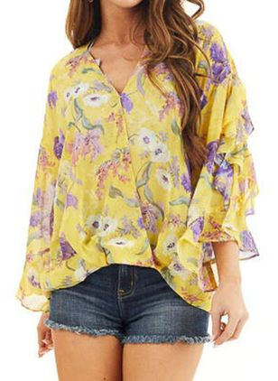 Floral Casual V-Neckline Long Sleeve Blouses (146959352)