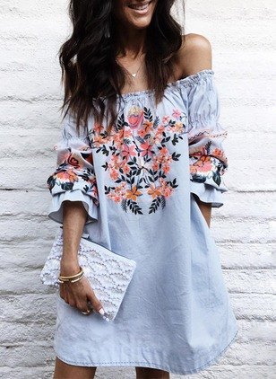 Floral Ruffles Boat Neckline Long Sleeve Shift Dress
