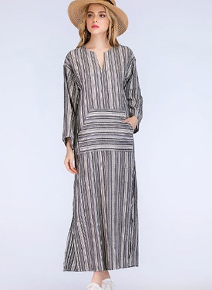 Stripe Pockets Long Sleeve Maxi Shift Dress