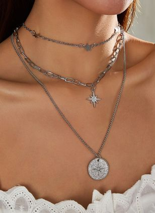 Elegant Star No Stone Pendant Necklaces (146700021)