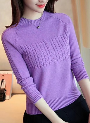Round Neckline Solid Tight Short Sweaters