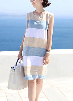 Cotton Color Block Sleeveless Above Knee Shift Dress