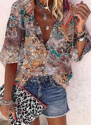 Color Block Casual V-Neckline Long Sleeve Blouses (4042242)