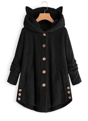 Long Sleeve Hooded Buttons Pockets Parkas Coats (5609636)