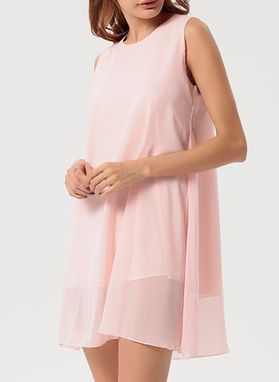 Cotton Solid Sleeveless A-line Dress